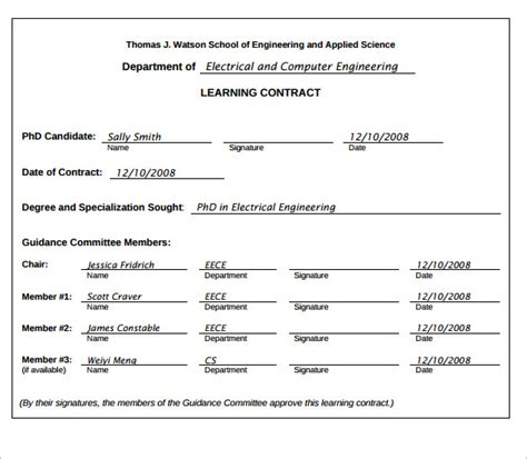 Learning Contract Template   14  Download Free Documents