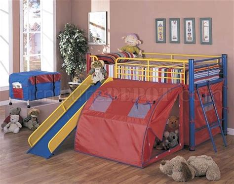 bunk bed with slide and tent multicolor modern kids bunk bed w ladder slide tent