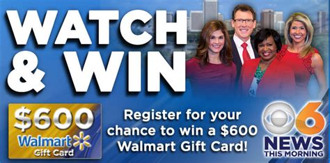Wtvr Walmart Giveaway - cbs 6 win 1 of 20 prizes of a 600 walmart gift by may 19 2015 giveawayus com
