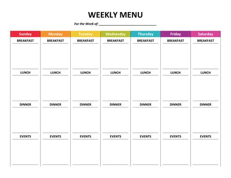 menu chart template menu planner like rainbows