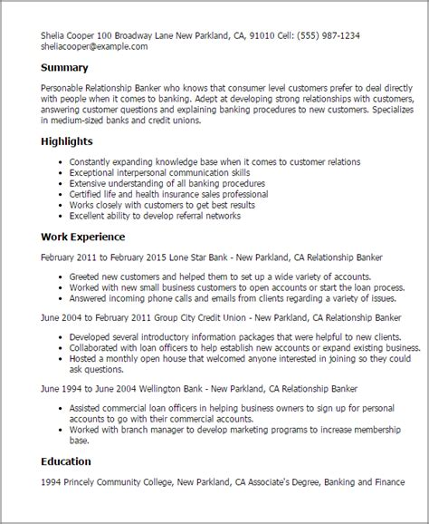 Personal Banker Resume Statements by Professional Relationship Banker Templates To Showcase