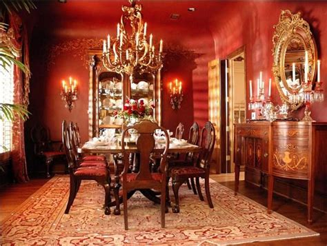 traditional victorian colonial red dining room