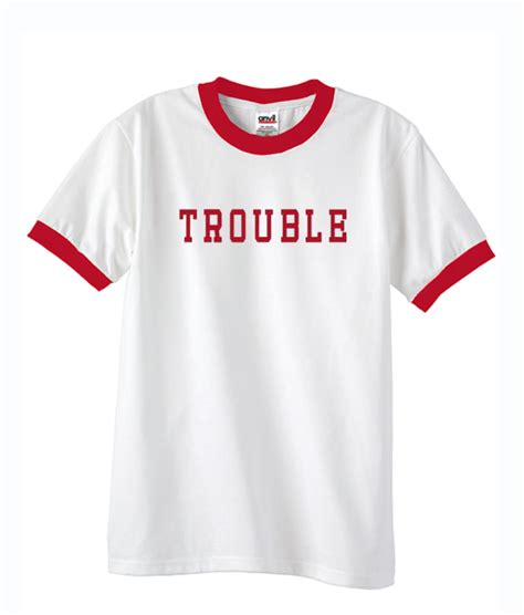 trouble unisex ringer t shirt