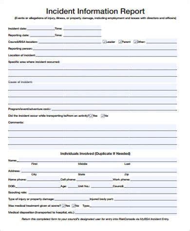serious incident report template incident report sle 15 exles in word pdf