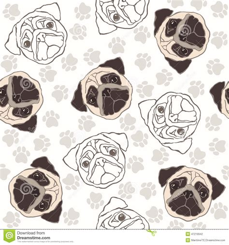 vector seamless pattern with pug dog and traces stock
