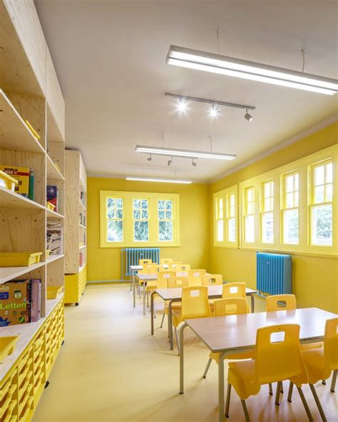 classroom  bright yellow walls floors