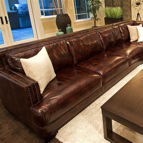 Saddle Brown Leather Sofa Easton Saddle Brown Leather Sectional With Left Arm Sofa Dcg Stores