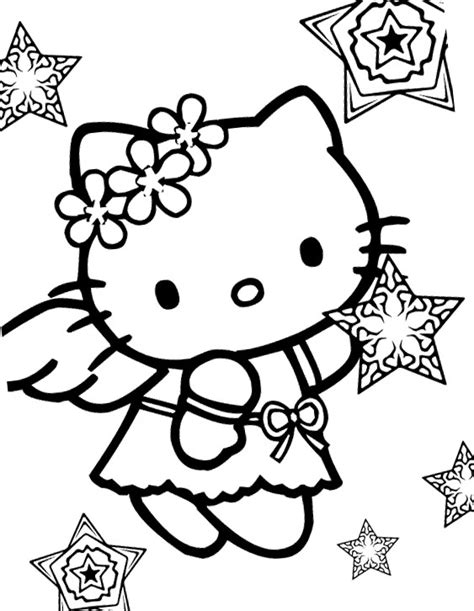 Hello Kitty Snow Angel Coloring Page Kidsycoloring Free Printable Hello Coloring Pages