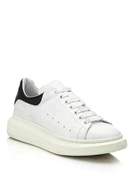 white sneakers lyst mcqueen leather sneakers in white
