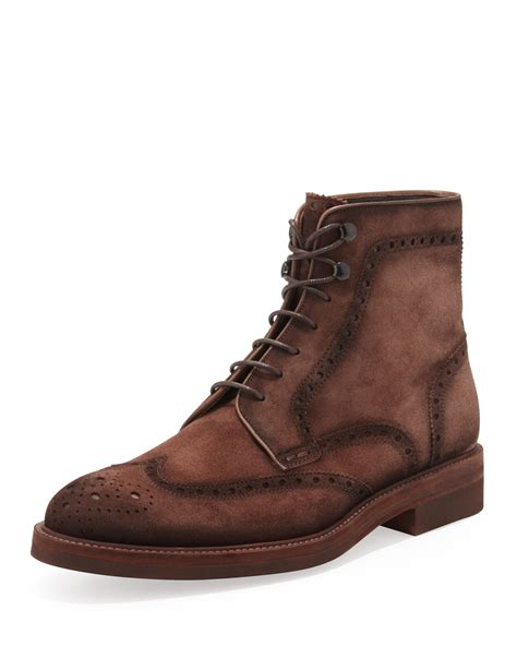 mens wingtip boots sale magnanni mens suede laceup wingtip boot in brown for