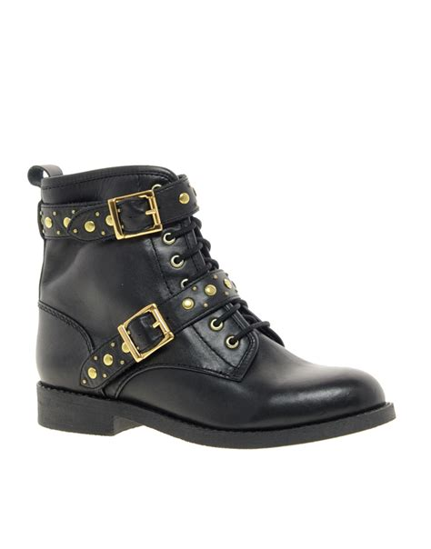 biker boots lyst asos asos april showers leather studded biker boots