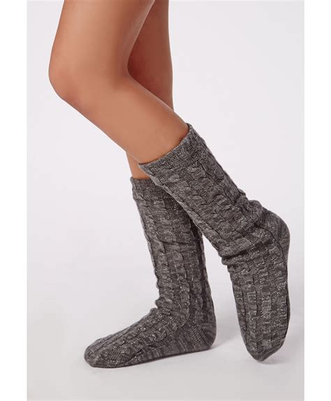 chunky slipper socks missguided chunky cable knit slipper socks grey in gray