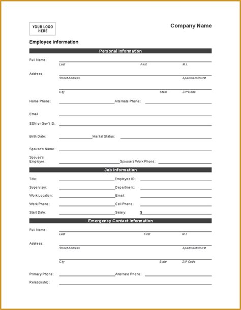 personal fact file template employee form verification of employment form