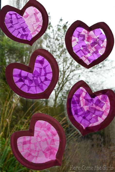 Paper Craft Hearts - paper plate hearts stained glass windows ted s
