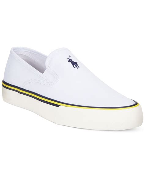 white slip on sneakers for polo ralph mytton slip on sneakers in white for