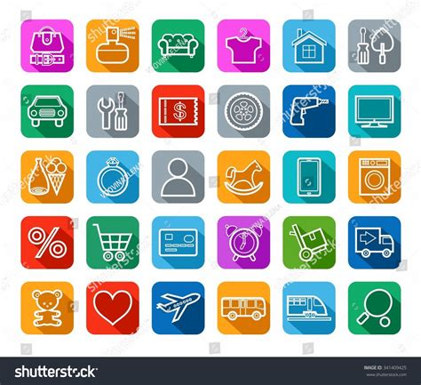 color categories buy shop categories goods icons stock vector