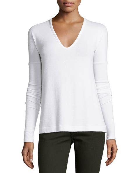 White Sleeved V Neck Shirt 1 rag bone theo sleeve v neck in white bright white lyst