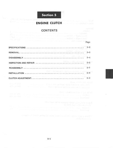 section 1411 adjustment section 5 engine clutch
