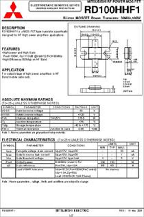 transistor rd15hvf1 datasheet transistor rd15hvf1 datasheet 28 images ra30h4452m datasheet rd70hhf1 datasheet pdf