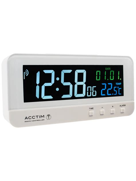 acctim radio controlled lcd alarm clock white at lewis partners