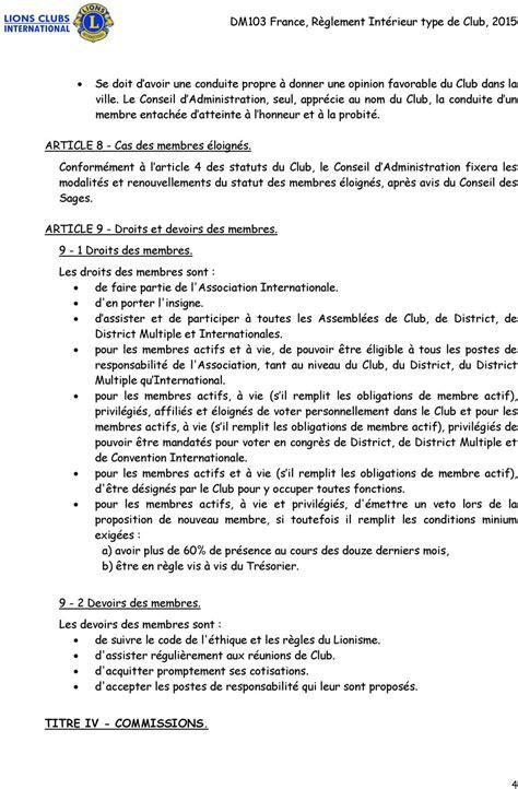 Modèle Règlement Intérieur Conseil D Administration
