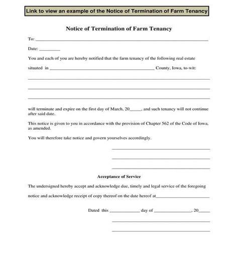 notice terminate tenancy forms