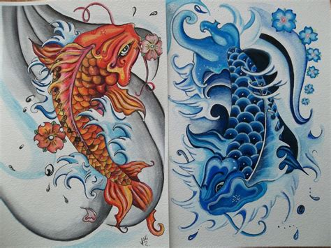 yin yang koi tattoo designs colored koi fish yin yang designs
