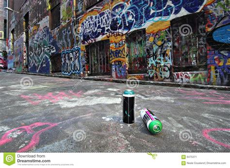 spray painting melbourne spray cans in a graffiti alley in melbourne stock image