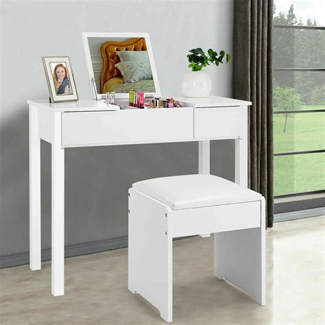 Vanity Table Chairs by White Vanity Dressing Table Set Mirrored Bedroom Furniture