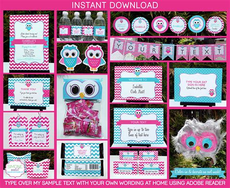 printable owl party decorations owl party printables owl birthday party owl invitations
