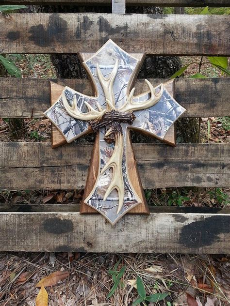 real home decor items similar to real tree camo antler wooden cross