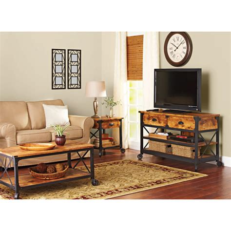 walmart living room better homes and gardens rustic country living room set