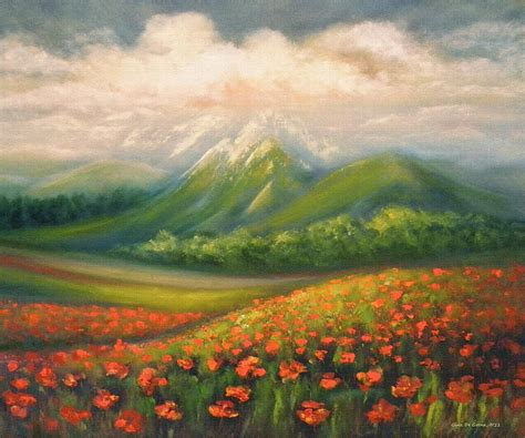 French Pillows Home Decor in the poppy field painting by gina de gorna