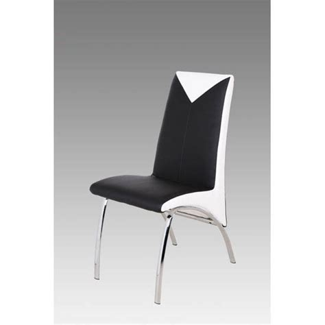 renee black and white faux leather dining chair with metal