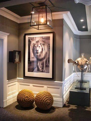 martha stewart zinc is used in this hallway to accent the crown and decorative moulding which