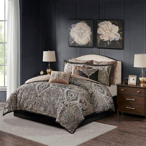 king grandover jacquard comforter set neutral brown