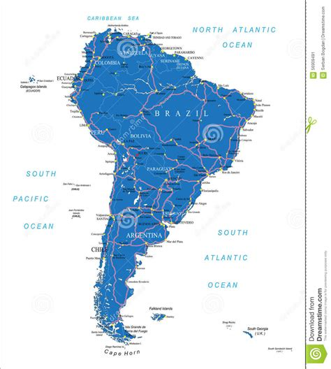 south america driving map south america road map stock vector image 56909491