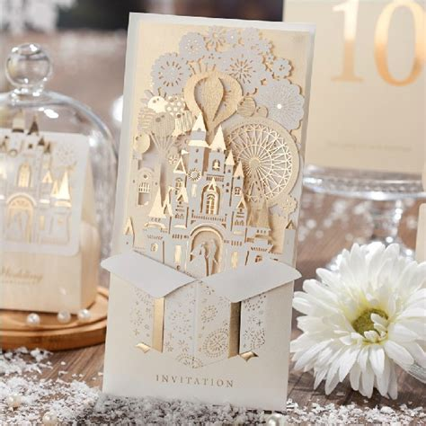 Unique Castle Wedding Invitations by High Class Gold Chagne Laser Cut Wedding Invitation