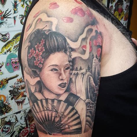 geisha tattoo on chest 70 colorful japanese geisha tattoos meanings and