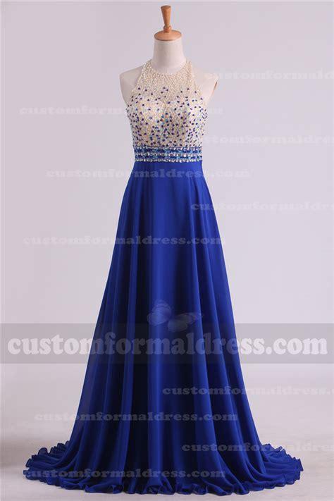 beaded top prom dress 2017 royal blue prom dresses halter neck beaded top