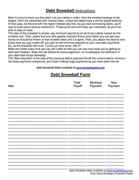 dave ramsey debt snowball worksheet worksheets
