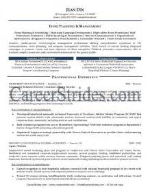 Events Manager Resume event manager resume sle exle