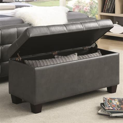500127 gray faux leather rectangular storage bench from
