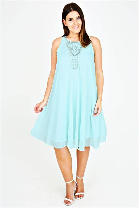 chiffon swing dress mint chiffon sleeveless swing dress with silver