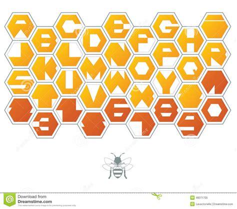 honeycomb pattern font hexagon font stock vector image 48371705