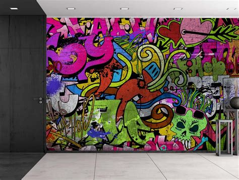 colorful graffiti colorful graffiti large wall mural removable peel and