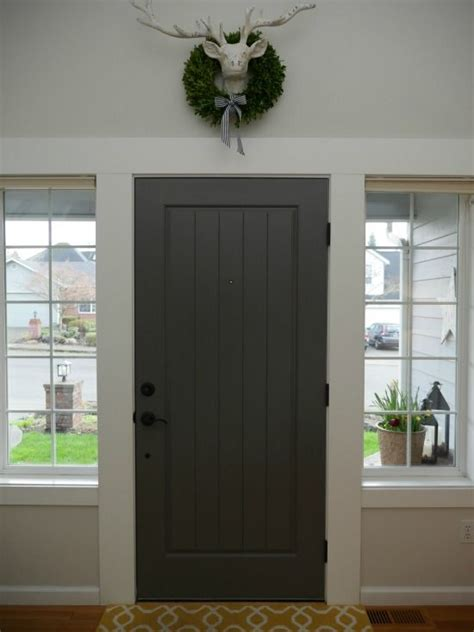 painted front door with benjamin kendall charcoal wall color bm classic gray at home