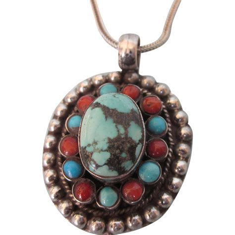 vintage sterling silver turquoise and coral tiered