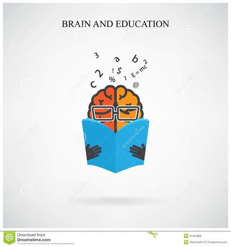 Book For Creative Smart creative brain sign and book symbol on background design