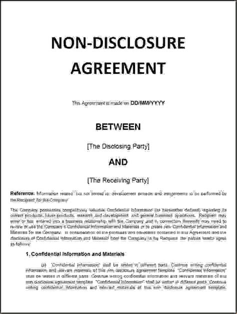 financial non disclosure agreement template 5 non disclosure agreement template freereport template